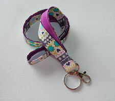 Lanyard Id Holder Key Leash badge holder - sugar skulls purple