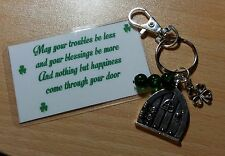 St Patricks/Irish - Keyring With Door/Shamrock/Green Beads - May Your Troubles