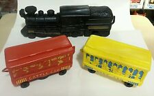 "Marx 737 Electric 3 Piece Squeeze Toy Train set 1946 ""D"" battery operated"