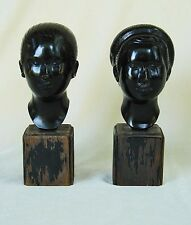 SCULPTURE ~ PAIR VIETNAMESE PATINATED CAST BRONZE BUSTS/HEADS ~ SIGNED
