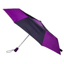 Totes Ladies Black & Wine Auto Open Double Canopy Folding Umbrella