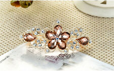 Champagne Women Girls Crystal Rhinestone Flower Barrette Hair Clip Clamp Hairpin