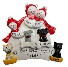 Personalized Snowman Family of 3 with 4 Dogs or Cats Christmas Ornament