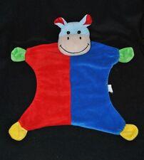 Peluche doudou hippopotame plat BEST PRICE LONDON LIDL bleu rouge grelot TTBE