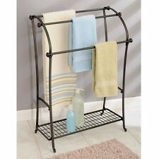 Towel Holder Floor Bathroom Free Standing Rack Hanging Shelf Home Hotel Stand