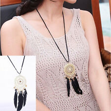 1 Pcs Feather Necklace Hollow Circle Dream Catcher Jewelry Chain For Women New
