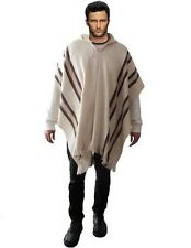 Poncho ALPACA WOOL jumper MEN'S cloak cape peruvian mexican White off Bolivia