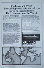 Cunard Queen Elizabeth 2 World Cruise Vintage 1980 Print Ad