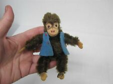 VINTAGE STEIFF SOFT FURRY MINIATURE JOCKO MONKEY with BLUE VEST ~ 4""