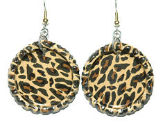 ANIMAL PRINT CHEETAH LEOPARD FLATTENED BOTTLE CAP DANGLE EARRINGS (CAP029a)