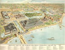 "20x30"" CANVAS Decor.Room design print..Chicago 1893 Exposition aerial map.6127"