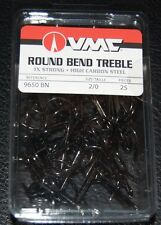 VMC 9650 Round Bend Treble Hooks Size 2/0 - Pack of 25 9650BN-20 Black Nickel