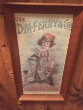 ANTIQUE C POSTER GIRL DOG D M FERRY & CO's STANDARD SEEDS