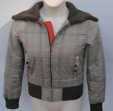 MEXX Brown Checks Plaids Puffer Coat Jacket Sz XS
