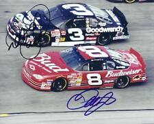"""DALE EARNHARDT JR RACING SIDE-BY-SIDE WITH DALE EARNHARDT 8X10"""" PHOTO REPRINT"""