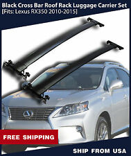 Black Cross Bar Roof Rack Luggage Carrier Set [Fits: Lexus RX350 2010-2015]