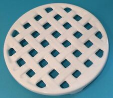 "Vintage INVICTA Enameled Cast Iron WHITE TRIVET Basketweave 8"" Round France (2)"