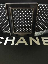 Chanel 13P NEW MOST WANTED Black Ecru Gold Leather Tweed Polka Dot Belt FR34