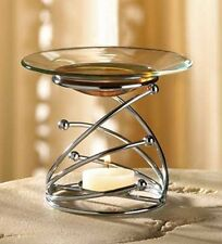 SILVER CHROME METAL MODERN ART CANDLE HOLDER OIL WAX WARMER BURNER FRAGRANCE NEW