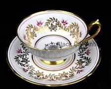 Beautiful Paragon Tea Cup & Saucer Stylized Thistles in Fuchsia, Pink & Gold