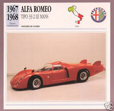 1967 1968 Alfa Romeo Tipo 33/2 Le Mans Car Photo Spec Sheet Info French Card