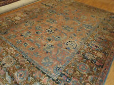 Antique Indian Agra Rug 100% Pure Wool for Pile Salmon Lovely!~ 9' ft X 12 ft