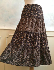 MARKS & SPENCER Brown Chocolate Fine Corduroy Floral Hippy Long Skirt Medium 14