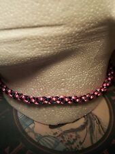 Blue & Pink Kumihimo choker/necklace Color Plata Broche