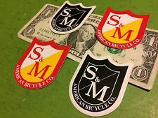 S&M Red Yellow Shield badge Race Jump BMX BIKE RIDE FRAME STICKERs DECALs