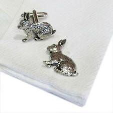 Pewter Rabbit CUFFLINKS Owner Lover Breeder Party Christmas Present GIFT Box