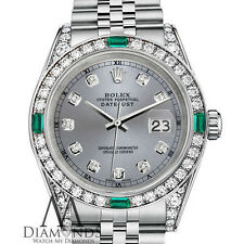 Women's Rolex Datejust 31mm Stainless Steel Emerald Diamond Watch With A Track