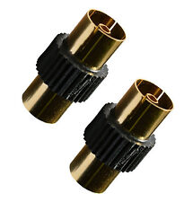 2x  Black Coaxial Coax TV Tele  Aerial Female  Adaptor Joiner Connect 2 Cables