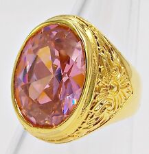 MEN'S RING SIZE 10.75 PINK SAPPHIRE 18K YELLOW GOLD FILLED FILIGREE CARVED EAGLE