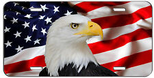 CUSTOM PATRIOTIC LICENSE PLATE AMERICAN FLAG AND EAGLE AUTO TAG
