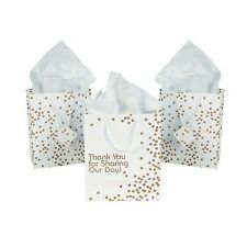 12 x Paper Medium Metallic Gold Dot Thank You Wedding Gift Bags