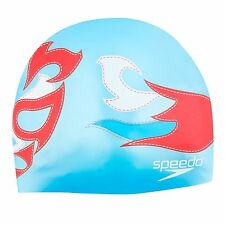 Speedo Luchadores Elastomeric Fit Swim Swimming Silicone Cap, Blue/Red, One Size