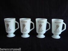 4 Rare Vintage Fire King Milk Glass Lancaster High School Mugs in MINT Condition