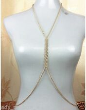 Occident Fashion Golden Fishbone Toothed Chain Waist Body Chain Link Necklace