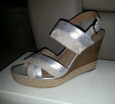 NIB COACH SHOES MALLORY SIGNATURE WEDGES SANDAL PLATFORM CUBA METALLIC KHAKI 11