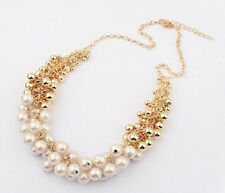 Bridal Golden Occident Hyperbole Multilayer Pearl Bib Statement Necklace P52