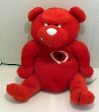 "1999 VALENTINES MEANIES HEARTLESS BEAR RED PLUSH BEANIE NWT 6"" LIMITED 7500"