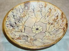Spain  Italy Majolica pottery HEAVY pasta bowl earth colors Brown flower sponge