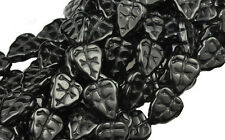 10 BLACK CZECH GLASS LEAF BEADS 10MM