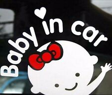 FD3896 White Girl Baby on Board Baby in Car Window Car Sticker Vinyl Decal 1pc
