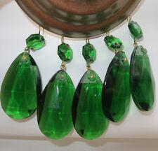 10 Vintage light Emerald Green German glass Crystal Prism Lamp Chandelier Part