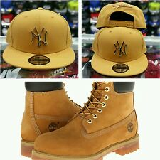 Matching New Era New York Yankee Gold Metal Badge snapback Timberland Tan Brown