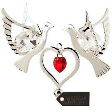 Silver Plated Red Crystal Studded Love Doves Ornament w/ Double Heart by Matashi
