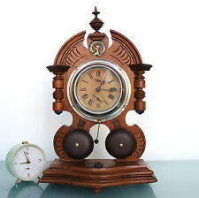 JUNGHANS Alarm RARE! Large Clock Antique Mantel Germany Double FRONT Bells Shelf