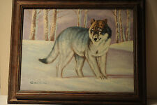 Lone Wolf Framed canvas painting, Artist Salas, 19 x 15 inch wood frame