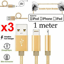 3 1m Apple iPhone 6 7 PLUS SE iPad Air Pro Nylon braided Fast data charger cable